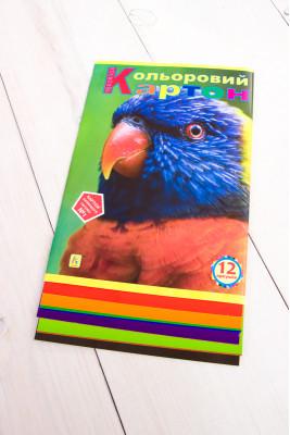 Цветной картон 12 листов односторонний