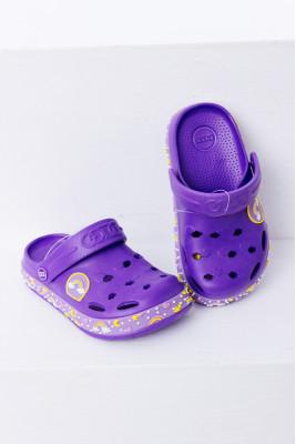 Кроксы фиолетовые с радугой