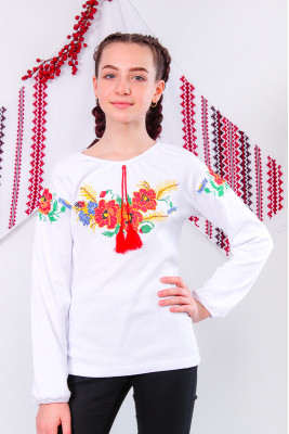 Вышиванка для девочки с длинным рукавом